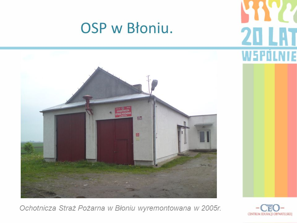 OSP w Błoniu. Ochotnicza Straż Pożarna w Błoniu wyremontowana w 2005r.