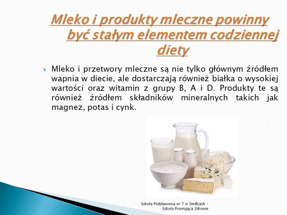 Mleko i produkty mleczne powinny być stałym elementem codziennej diety
