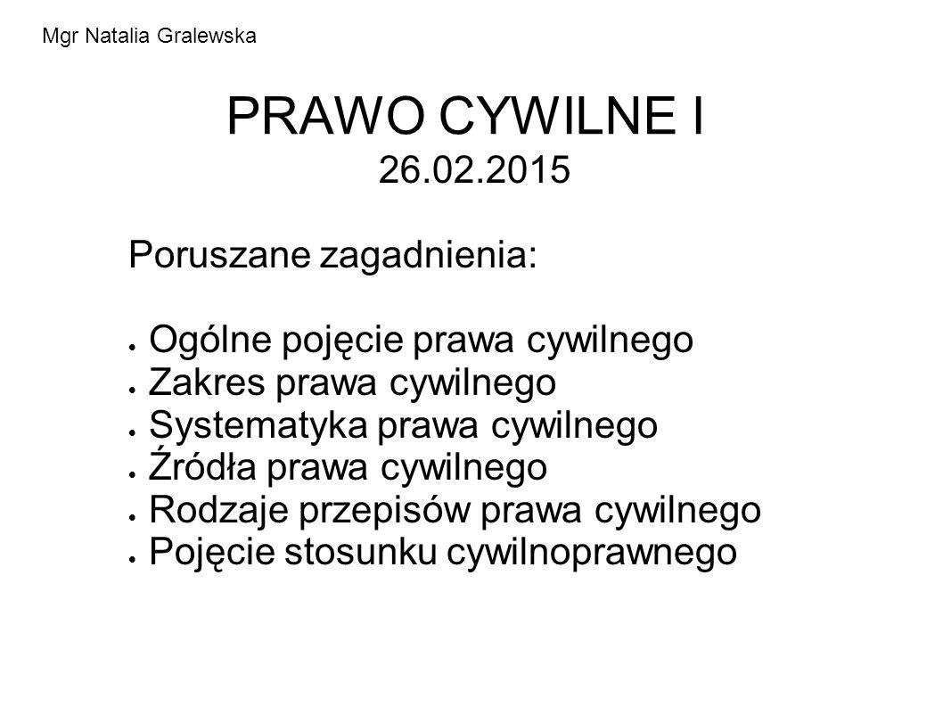 PRAWO CYWILNE I 26.02.2015 Poruszane zagadnienia: