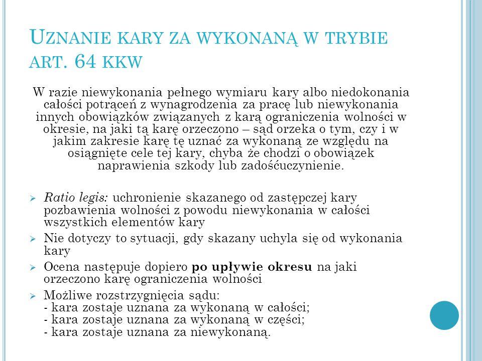 Uznanie kary za wykonaną w trybie art. 64 kkw