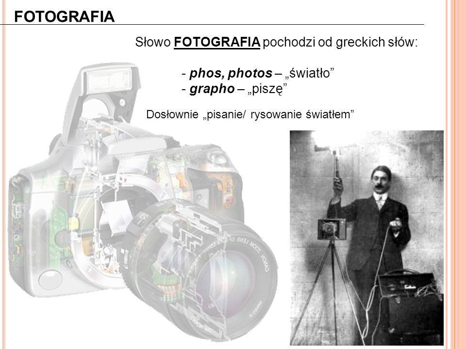 FOTOGRAFIA Słowo FOTOGRAFIA pochodzi od greckich słów: