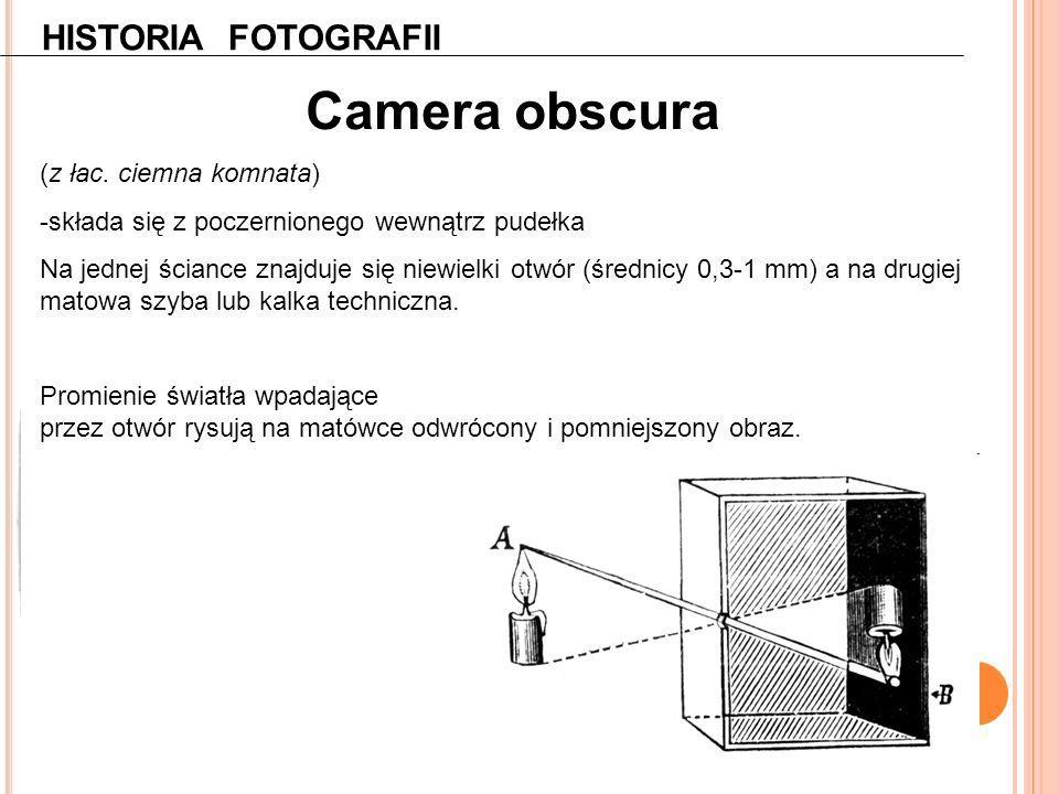 Camera obscura HISTORIA FOTOGRAFII (z łac. ciemna komnata)