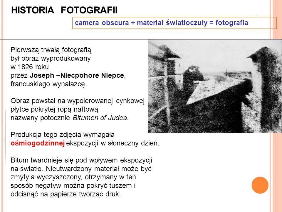 HISTORIA FOTOGRAFII camera obscura + materiał światłoczuły = fotografia. Pierwszą trwałą fotografią.