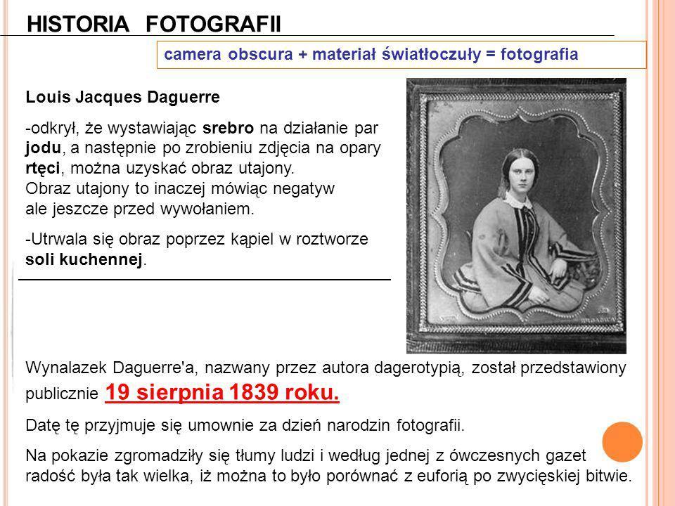 HISTORIA FOTOGRAFII camera obscura + materiał światłoczuły = fotografia. Louis Jacques Daguerre.