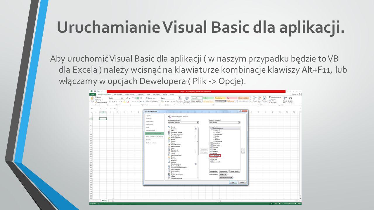 Uruchamianie Visual Basic dla aplikacji.