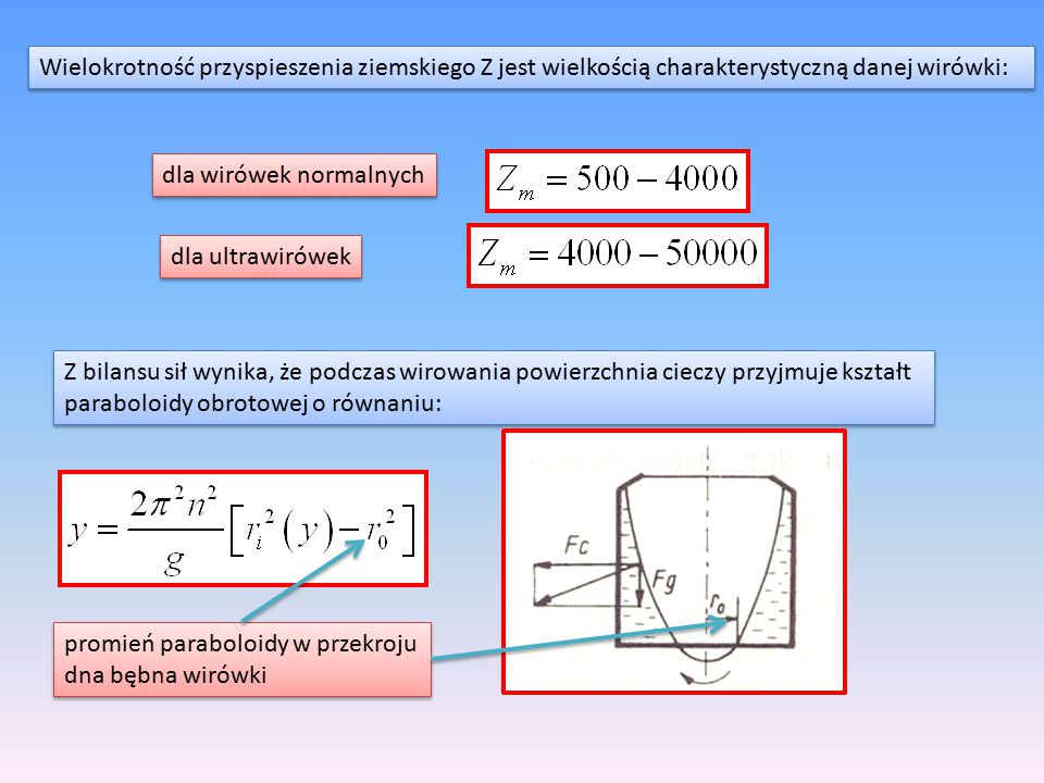 Wielokrotność przyspieszenia ziemskiego Z jest wielkością charakterystyczną danej wirówki:
