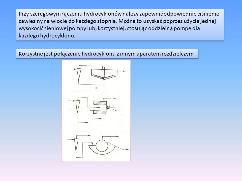 Przy szeregowym łączeniu hydrocyklonów należy zapewnić odpowiednie ciśnienie