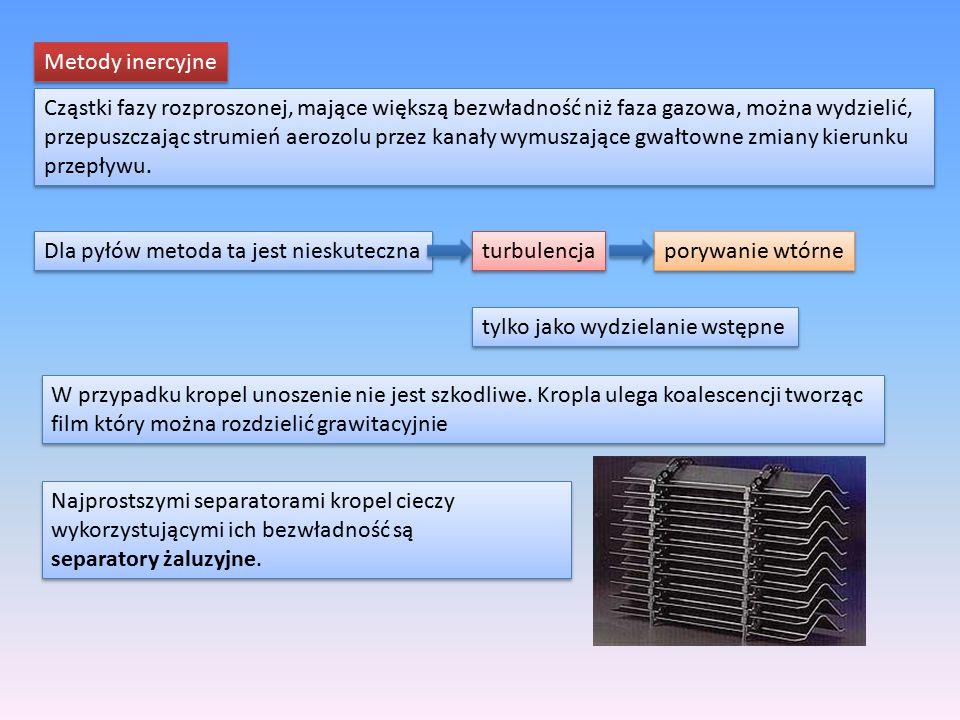 Metody inercyjne Cząstki fazy rozproszonej, mające większą bezwładność niż faza gazowa, można wydzielić,