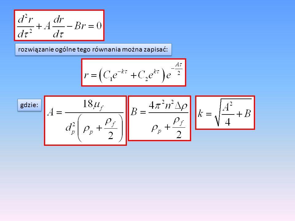 rozwiązanie ogólne tego równania można zapisać: