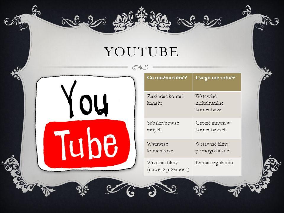 YouTube Co można robić Czego nie robić Zakładać konta i kanały.