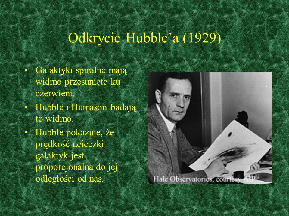Odkrycie Hubble'a (1929) Galaktyki spiralne mają widmo przesunięte ku czerwieni. Hubble i Humason badają to widmo.