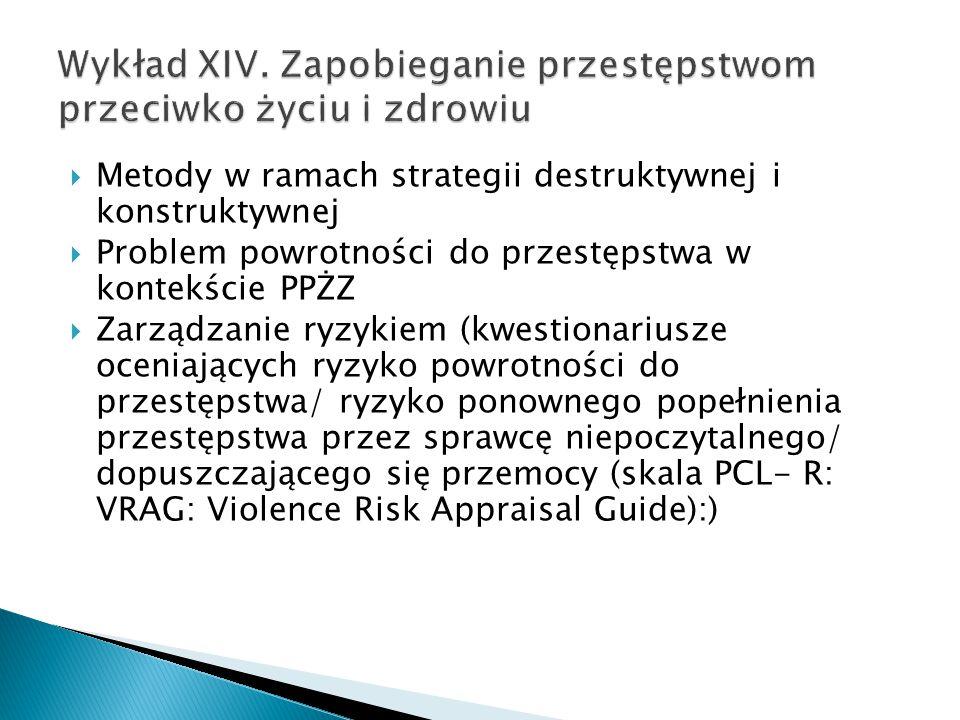 Wykład XIV. Zapobieganie przestępstwom przeciwko życiu i zdrowiu