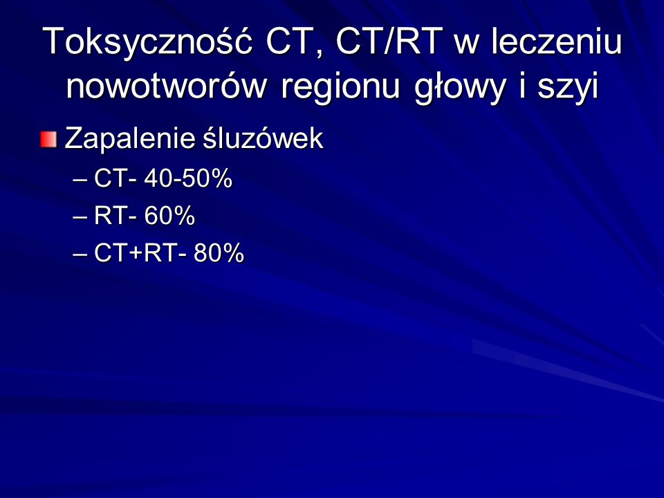 Toksyczność CT, CT/RT w leczeniu nowotworów regionu głowy i szyi