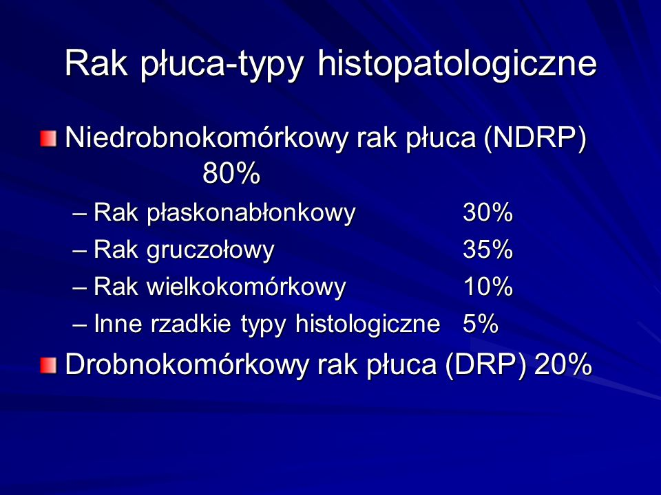 Rak płuca-typy histopatologiczne