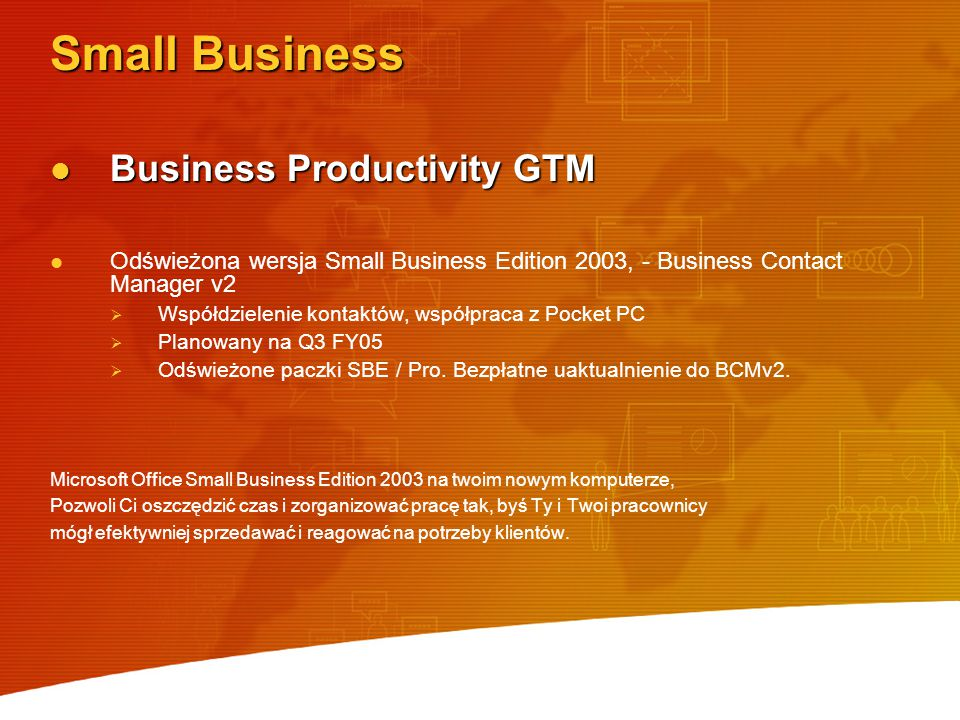 Small Business Business Productivity GTM