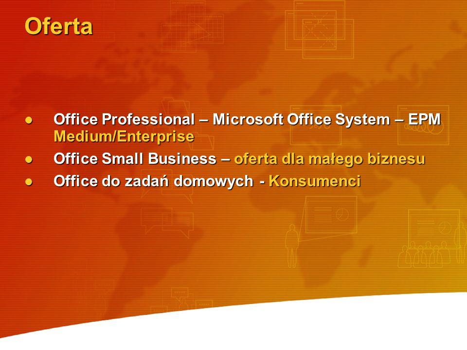 Oferta Office Professional – Microsoft Office System – EPM Medium/Enterprise. Office Small Business – oferta dla małego biznesu.