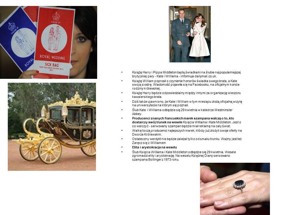 Książę Harry i Pippa Middleton będą świadkami na ślubie najpopularniejszej brytyjskiej pary - Kate i Williama - informuje dailymail.co.uk.