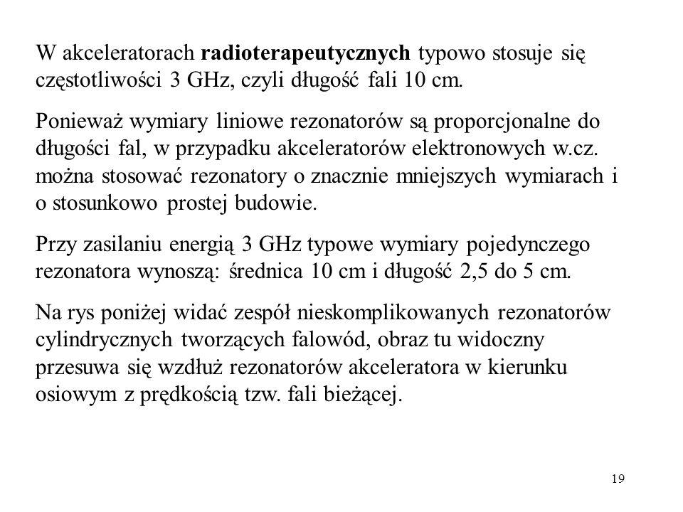W akceleratorach radioterapeutycznych typowo stosuje się częstotliwości 3 GHz, czyli długość fali 10 cm.