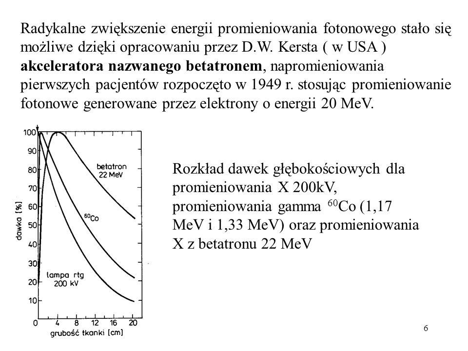 Radykalne zwiększenie energii promieniowania fotonowego stało się możliwe dzięki opracowaniu przez D.W. Kersta ( w USA ) akceleratora nazwanego betatronem, napromieniowania pierwszych pacjentów rozpoczęto w 1949 r. stosując promieniowanie fotonowe generowane przez elektrony o energii 20 MeV.