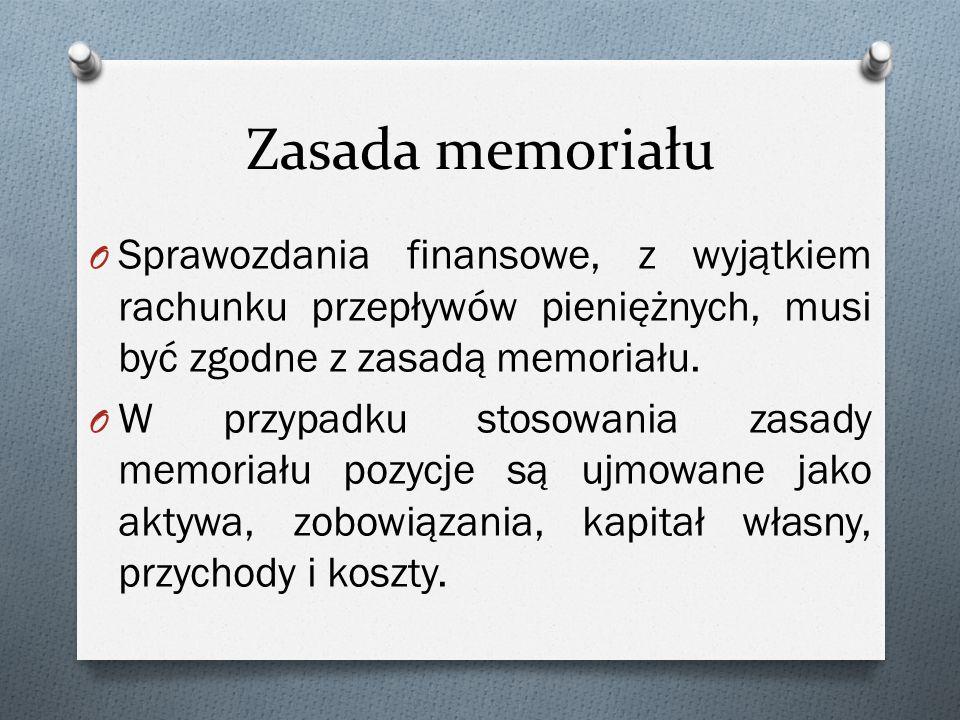 Zasada memoriału Sprawozdania finansowe, z wyjątkiem rachunku przepływów pieniężnych, musi być zgodne z zasadą memoriału.