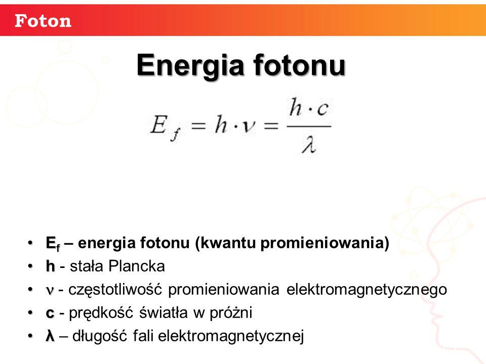 Energia fotonu Foton Ef – energia fotonu (kwantu promieniowania)