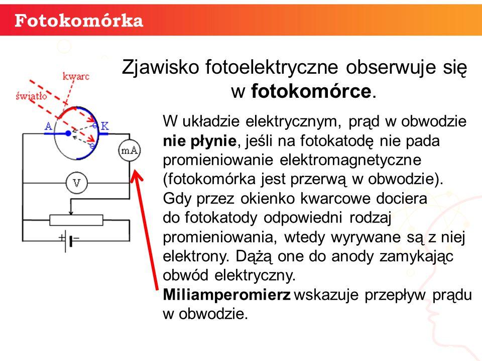Zjawisko fotoelektryczne obserwuje się w fotokomórce.