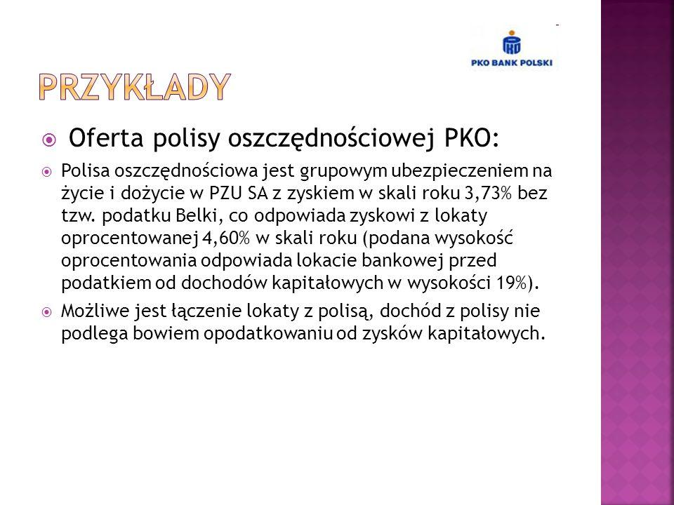 Przykłady Oferta polisy oszczędnościowej PKO: