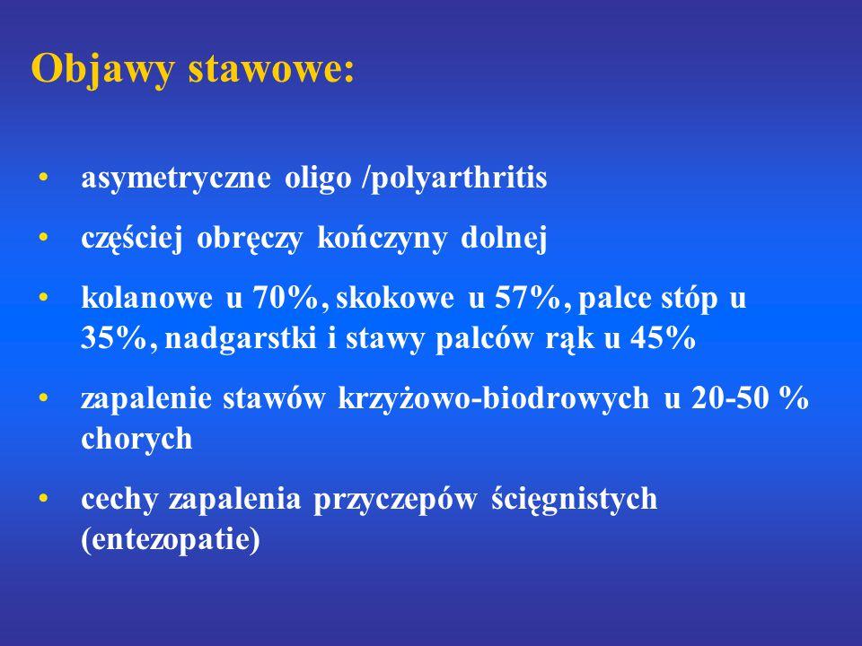 Objawy stawowe: asymetryczne oligo /polyarthritis