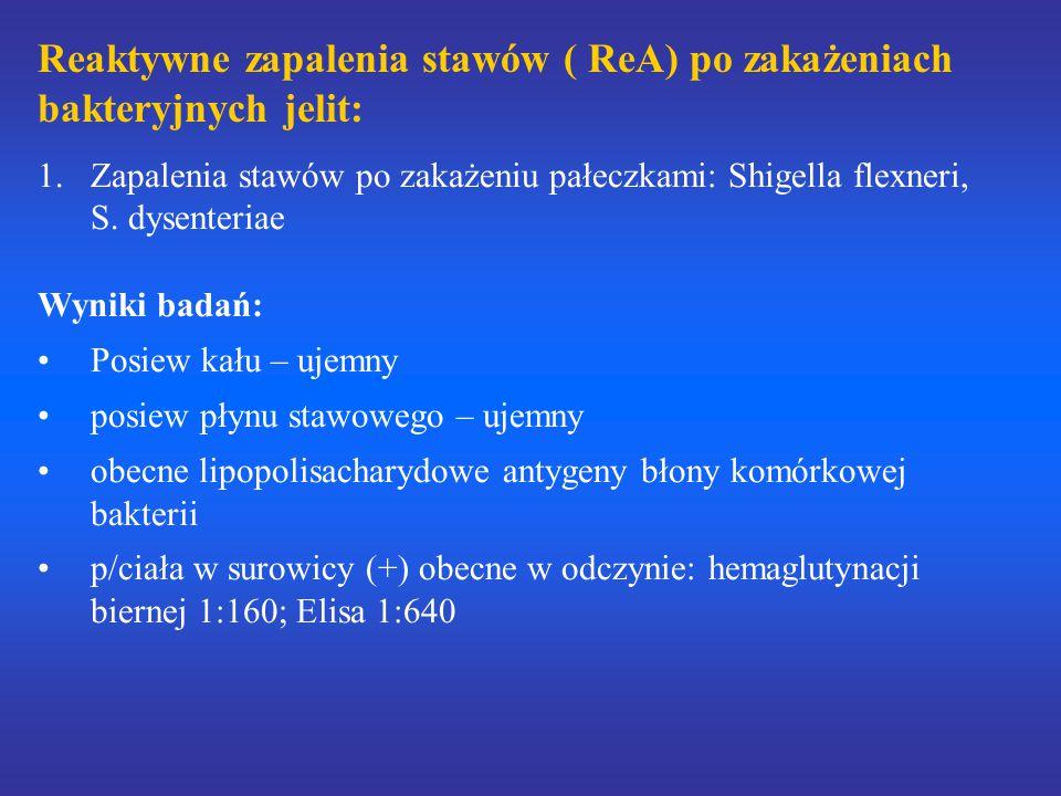 Reaktywne zapalenia stawów ( ReA) po zakażeniach bakteryjnych jelit: