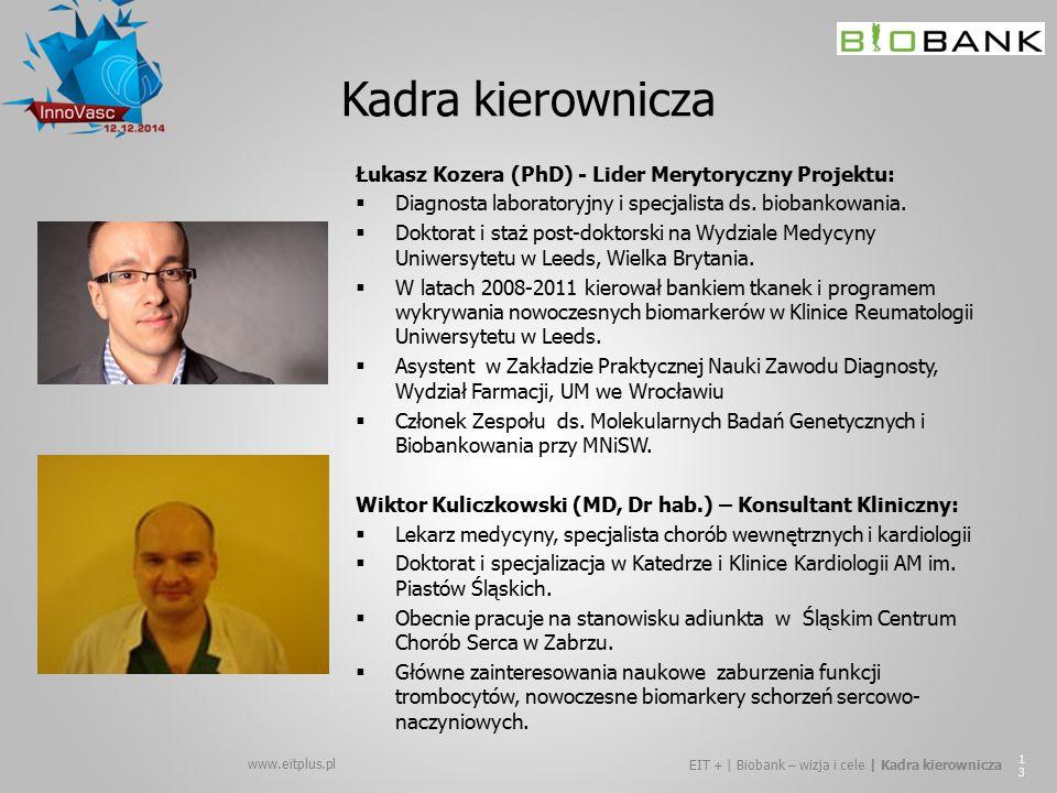 Kadra kierownicza Łukasz Kozera (PhD) - Lider Merytoryczny Projektu: