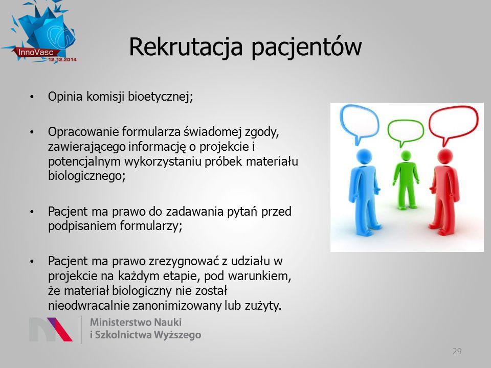 Rekrutacja pacjentów Opinia komisji bioetycznej;