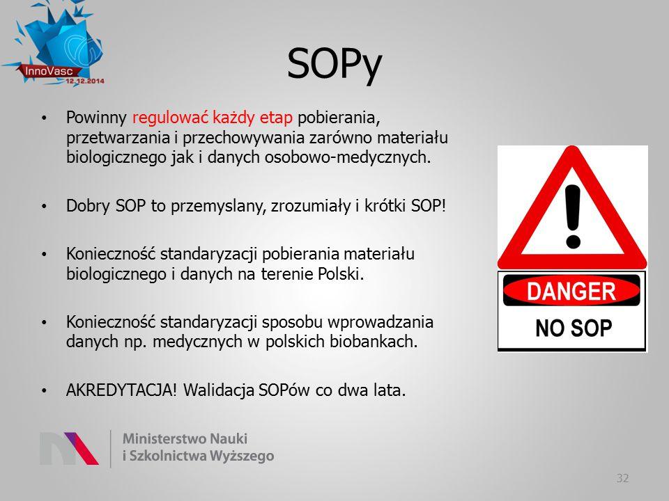 SOPy Powinny regulować każdy etap pobierania, przetwarzania i przechowywania zarówno materiału biologicznego jak i danych osobowo-medycznych.