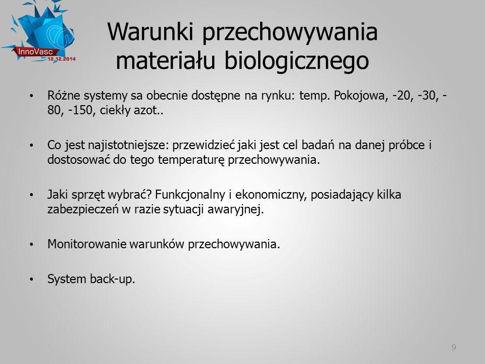 Warunki przechowywania materiału biologicznego