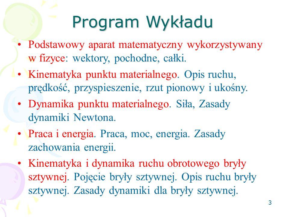 Program Wykładu Podstawowy aparat matematyczny wykorzystywany w fizyce: wektory, pochodne, całki.