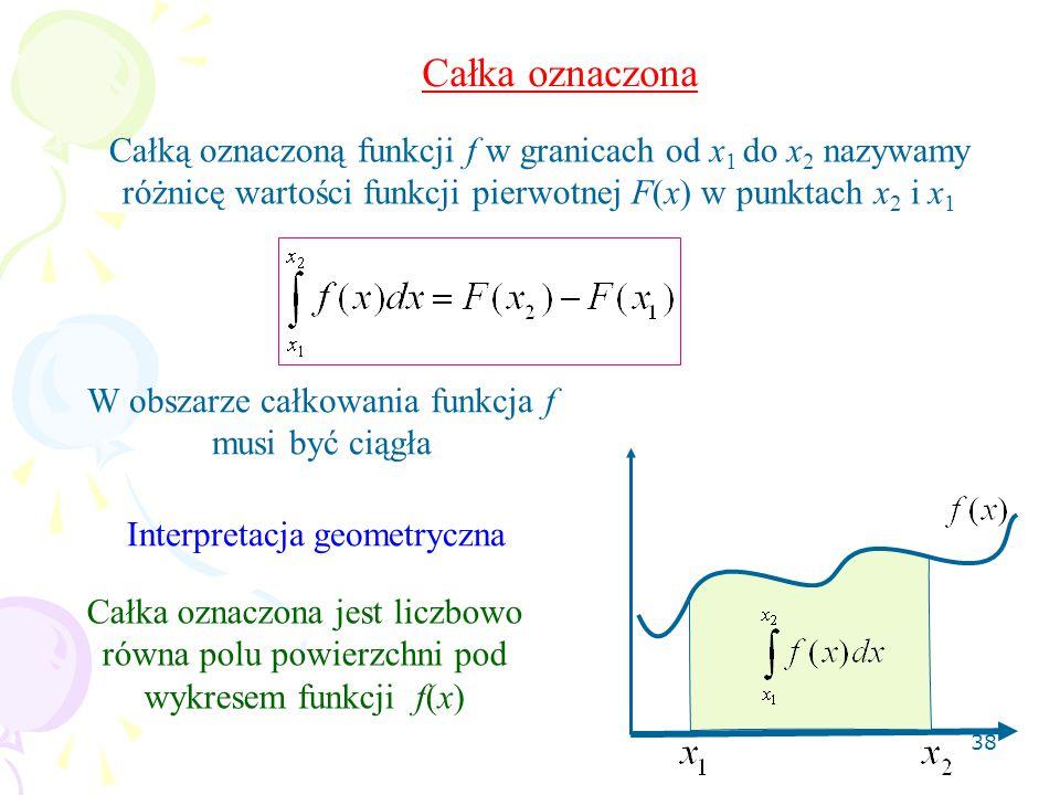 Całka oznaczona Całką oznaczoną funkcji f w granicach od x1 do x2 nazywamy różnicę wartości funkcji pierwotnej F(x) w punktach x2 i x1.