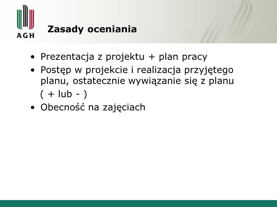 Zasady oceniania Prezentacja z projektu + plan pracy. Postęp w projekcie i realizacja przyjętego planu, ostatecznie wywiązanie się z planu.