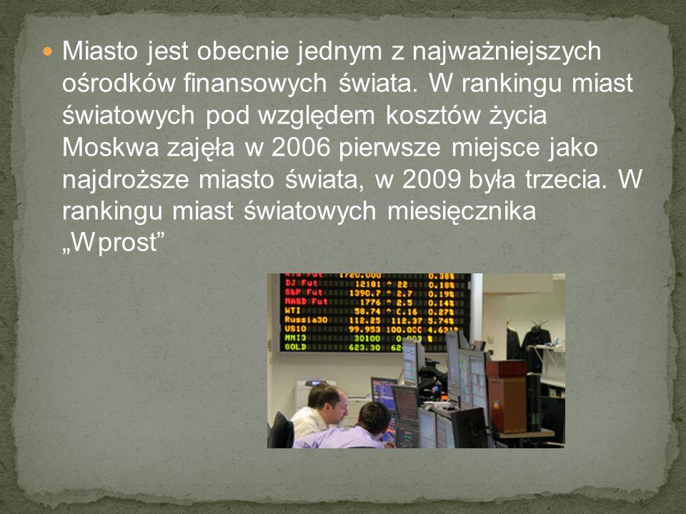 Miasto jest obecnie jednym z najważniejszych ośrodków finansowych świata.
