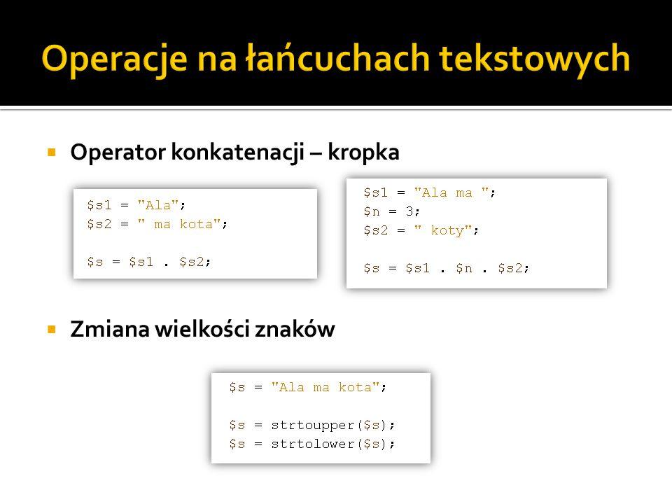 Operacje na łańcuchach tekstowych