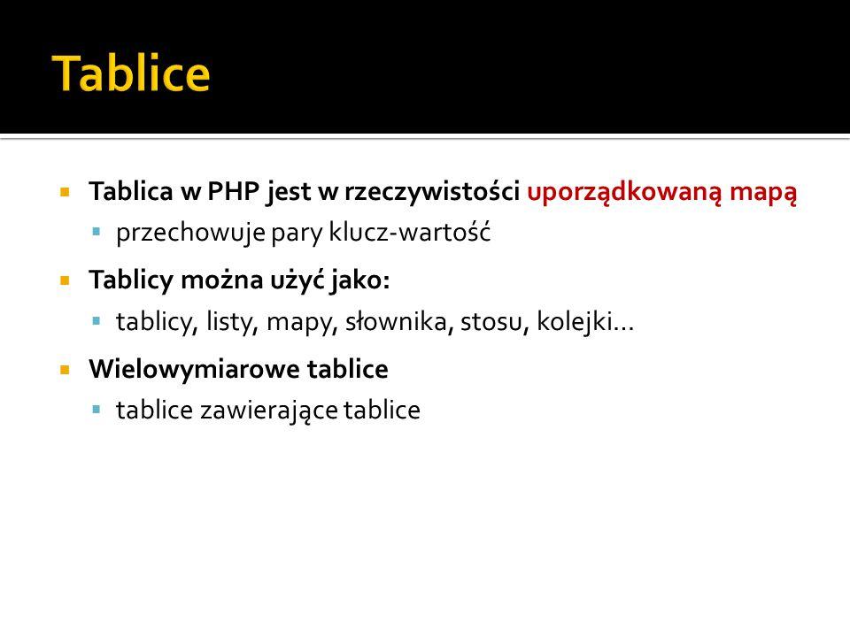 Tablice Tablica w PHP jest w rzeczywistości uporządkowaną mapą