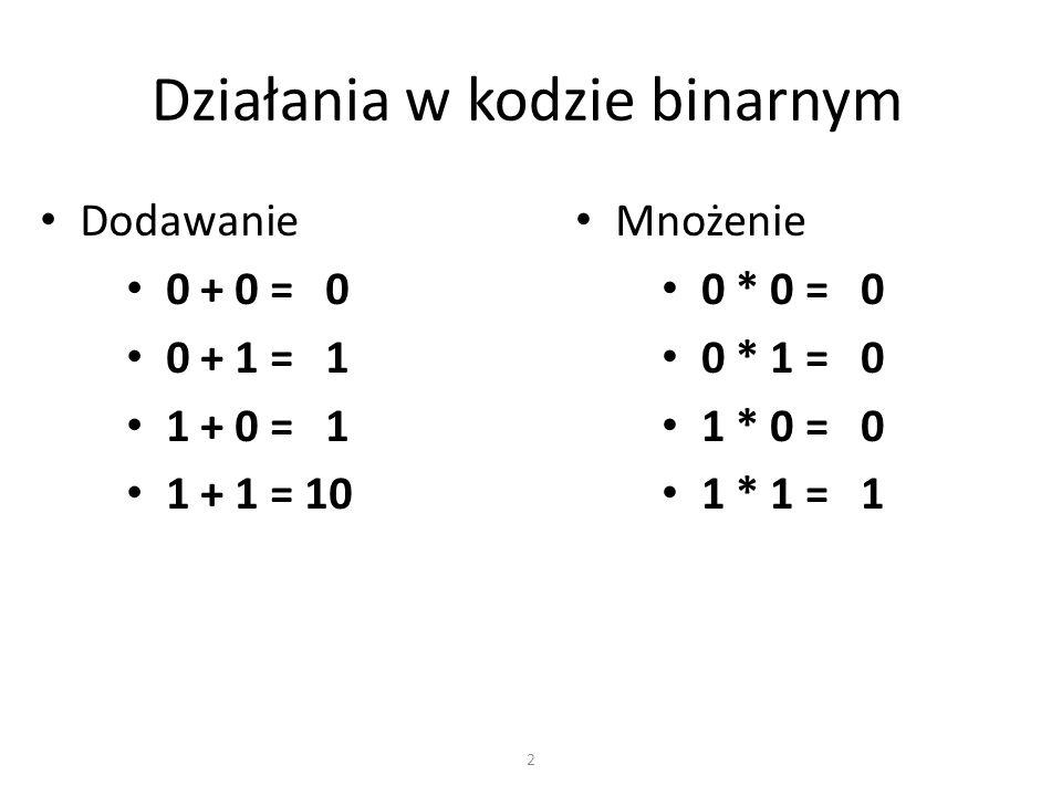 Działania w kodzie binarnym