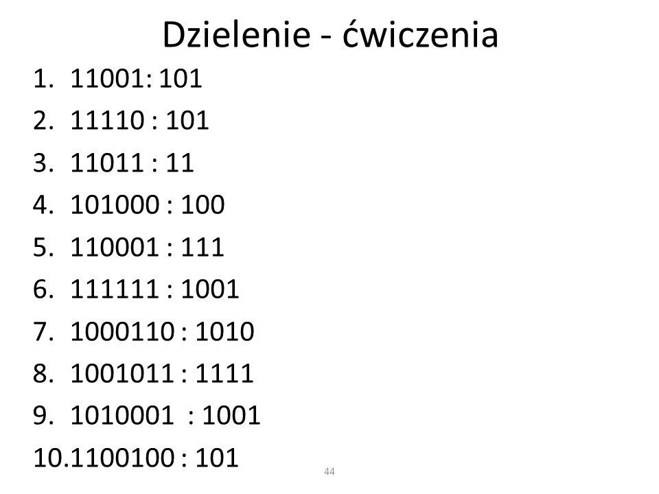 Dzielenie - ćwiczenia 11001: 101 11110 : 101 11011 : 11 101000 : 100