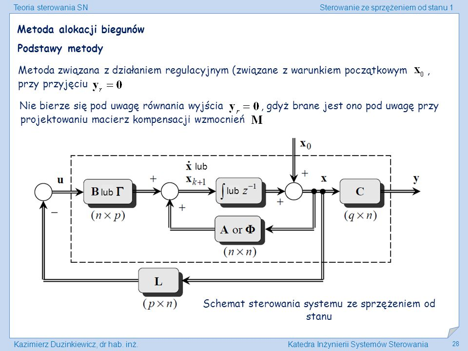 Schemat sterowania systemu ze sprzężeniem od stanu