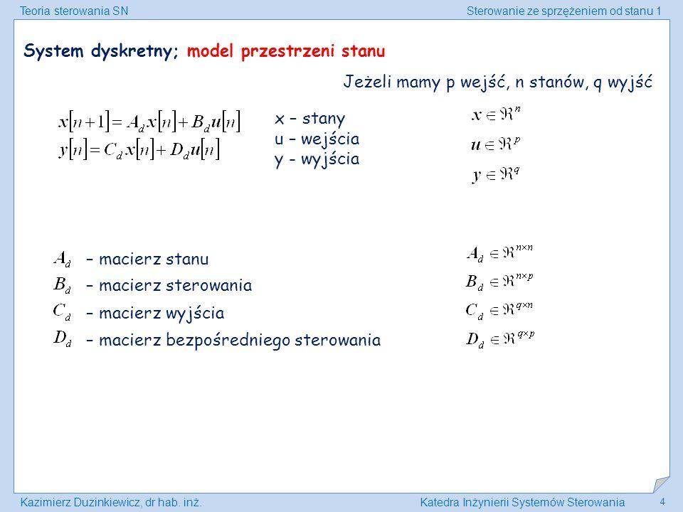 System dyskretny; model przestrzeni stanu