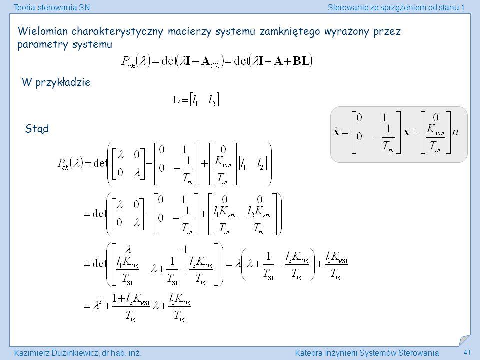 Wielomian charakterystyczny macierzy systemu zamkniętego wyrażony przez parametry systemu
