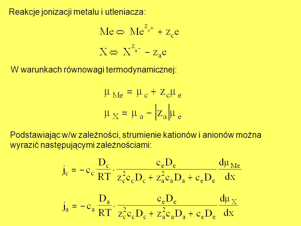 Reakcje jonizacji metalu i utleniacza: