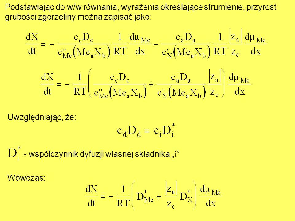 Podstawiając do w/w równania, wyrażenia określające strumienie, przyrost grubości zgorzeliny można zapisać jako: