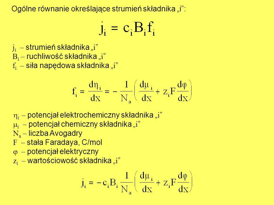 """Ogólne równanie określające strumień składnika """"i :"""