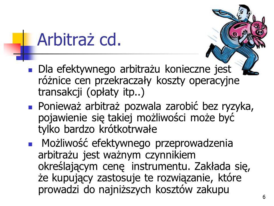 Arbitraż cd. Dla efektywnego arbitrażu konieczne jest różnice cen przekraczały koszty operacyjne transakcji (opłaty itp..)
