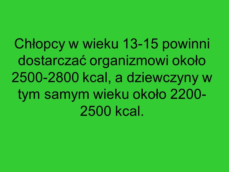 Chłopcy w wieku 13-15 powinni dostarczać organizmowi około 2500-2800 kcal, a dziewczyny w tym samym wieku około 2200-2500 kcal.