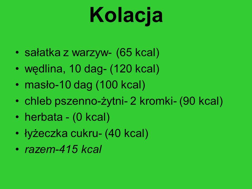 Kolacja sałatka z warzyw- (65 kcal) wędlina, 10 dag- (120 kcal)